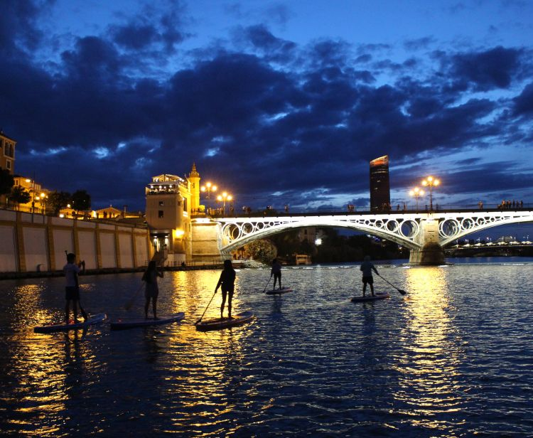 Paddle Surf at sunset on the Guadalquivir River